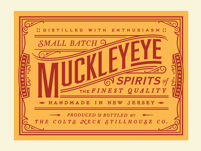 MuckleyEye! logo jazzed ornate lettering type business card liquor spirits