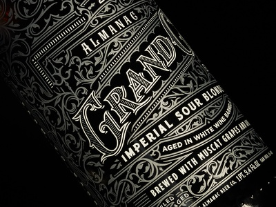 Almanac 2016 Grand Cru's lettering typography type ornate package design beer ale metallic print design bottle