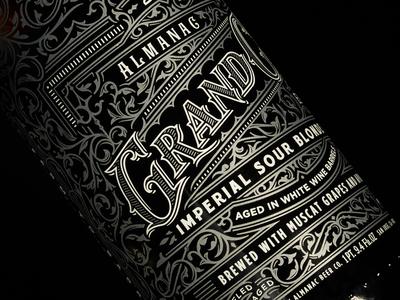 Almanac 2016 Grand Cru's lettering typography type ornate package design beer ale metallic print design bottle