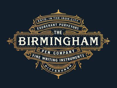 Birmingham Pen Company lettering navy luxury royal crest branding logo pen