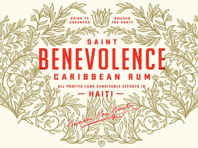 Benevolence Rum haiti condensed type ornate floral packaging design label rum