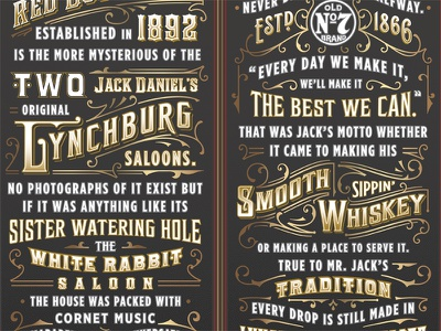 Jack Daniel's Red Dog liquor whiskey gold ornate jack daniels old fashioned lettering typography
