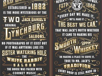 Jack Daniel's Red Dog liquor whiskey gold ornate jack daniels old fashioned lettering typography