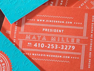 Rincon Rum business cards mid-century pattern letterpress brand logo badge business card