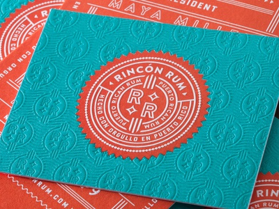 Rincon Rum business cards mid-century pattern letterpress brand logo badge business card