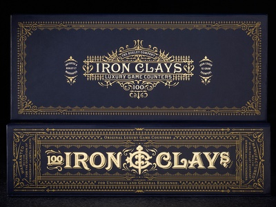 Iron Clays 100 packaging box foil custom lettering poker blue ornate london