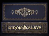 Iron Clays 100 packaging box foil custom lettering poker blue ornate london