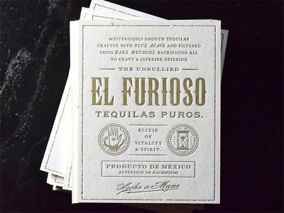 El Furioso business cards metallic condensed old school mexican letter press liquor snake worm tequila so many typefaces
