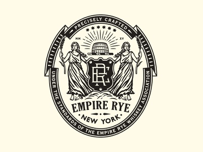Empire Rye new york women monogram barrel blind crest seal badge logo
