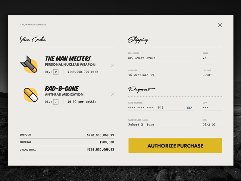 Nuclear Weapon Checkout Page - #DailyUI 002 fallout nuclear weapon credit card check out checkout ui daily dailyui