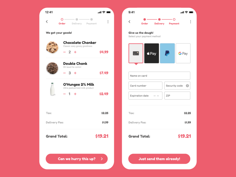 O'Hungee Cookie Delivery - Checkout Flow figma visual design ux  ui ux confirmation page checkout page checkout form checkout checkout flow cookie delivery ohungee