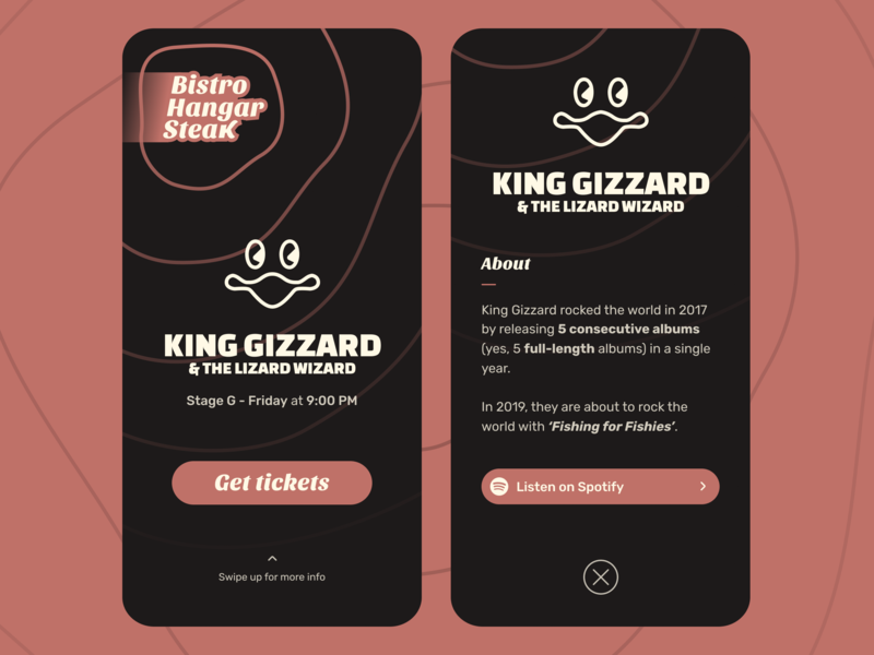 Bistro Hangar Steak Music Festival App daily event dailyui daily challenge ui  ux design ui ux challenge fun event app music app bistro hangar steak music festival festival music