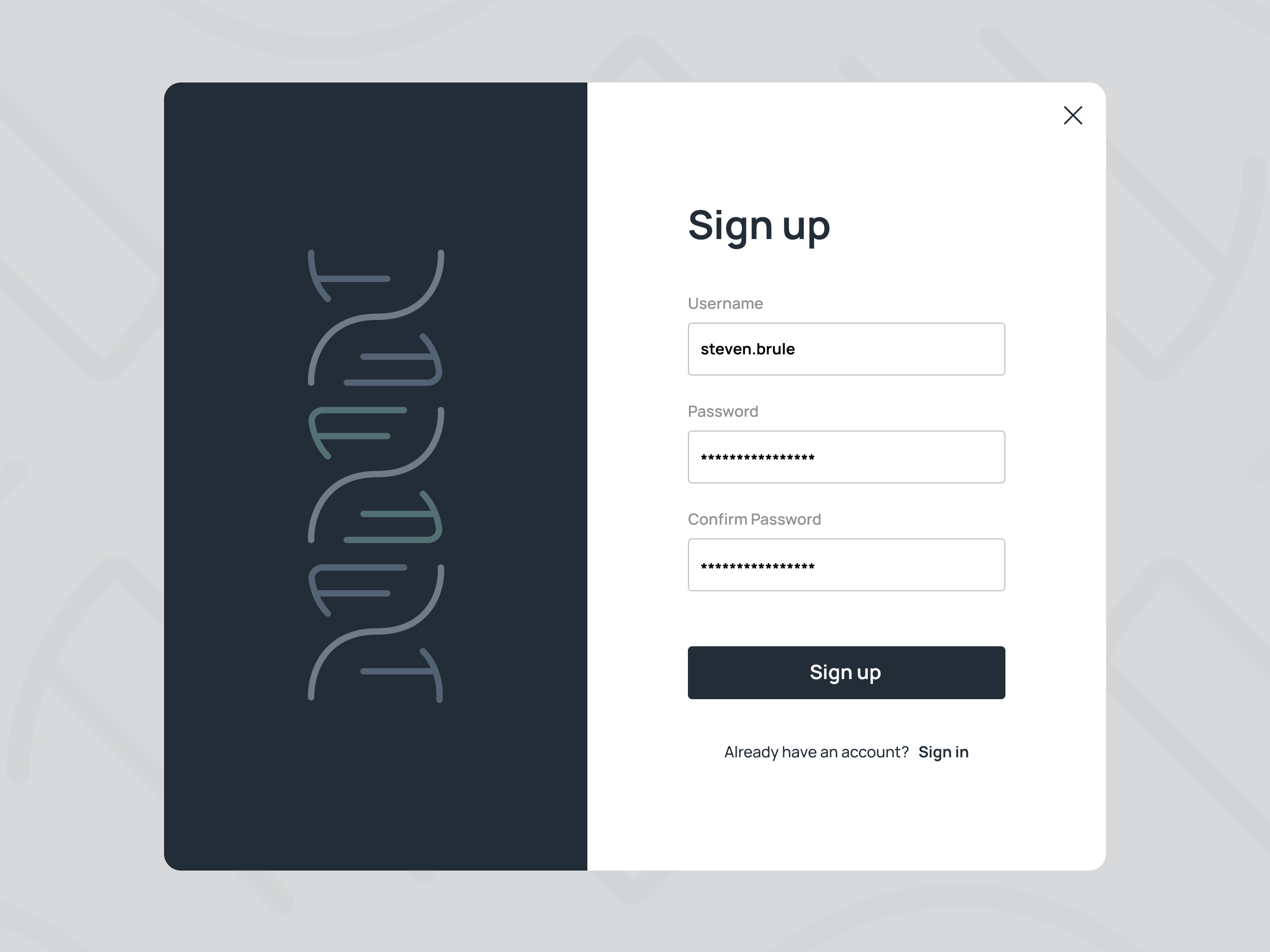 Biotechnology Corporation Sign Up Page