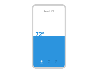 Smart Thermostat App Animation gesture gesture control full screen interaction smart home control home control application app temperature juice temperature control nest thermostat thermostat smart 021 dailyui 21 challenge ux daily ui dailyui