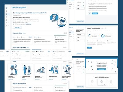 Learning Platform health system education skills skill quiz patients healthcare app illustration learning app learning platform learning website web ux ui