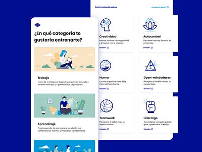 Brainpoints Mobile App - Training Categories learning meditation training prototype illustration productivity wellness design sprint ui ux app argentina design indicius