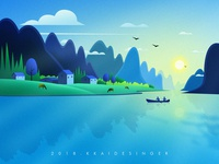 Mountains And Rivers Landscape Illustration