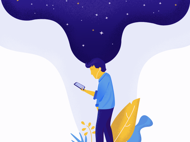 Head in the stars music daydream iphone spotify walking illustration vector