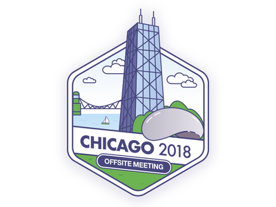 Chicago Company Offsite Badge vector line art illustration chicago city company offsite sticker merit badge