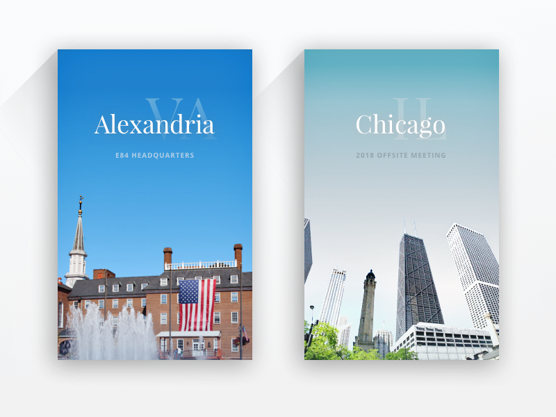 Alexandria to Chicago cards web serif typography city offsite company