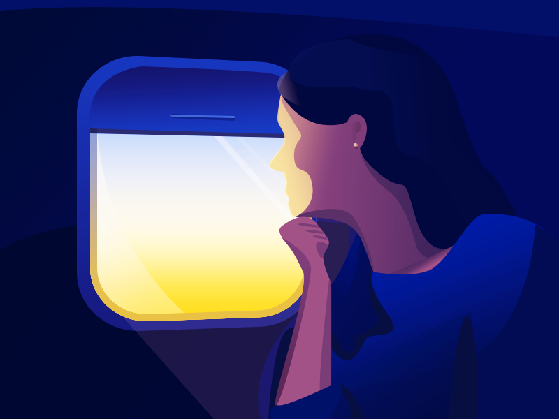 Mile-High Sunrise illustration vector lighting shadows woman staring thinking morning sunrise window airplane