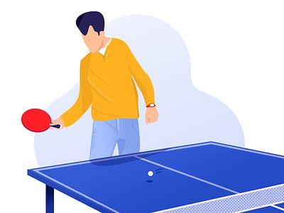 Playing ping pong vector illustration man paddle table tennis ping pong