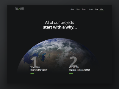 E84 Labs Website web element 84 science earth minimal dark theme landing page website improve the world labs