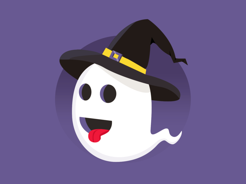 Silly Halloween Ghost silly witch hat spooky halloween sticker mule vector illustration