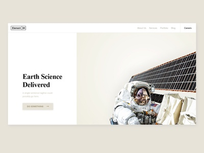 Earth Science Landing Concept space earth earth science typography minimal astronaut satellite science splash landing page web