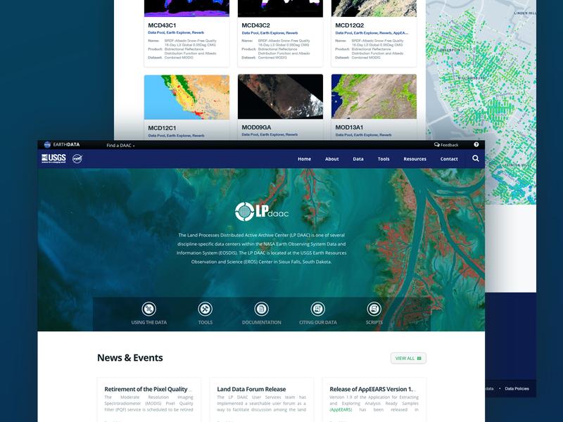 LPDAAC Redesign Mockup satellite ui website splash space responsive redesign earth science web