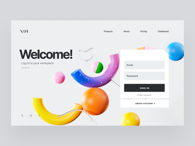 Sign-in Concept concept sign-up sign-in welcome b3d 3d ui design