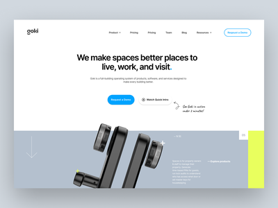 WIP - Goki website minimal typography keys smart lock lock screen page landing page product green home ui iran design