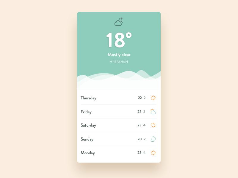Weather :: 034 minimal ui design iran cloud blue ios app dailyui weather