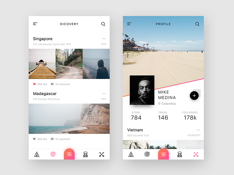 Travel Discovery  iran gradient layout ios app profile discovery ui minimal travel