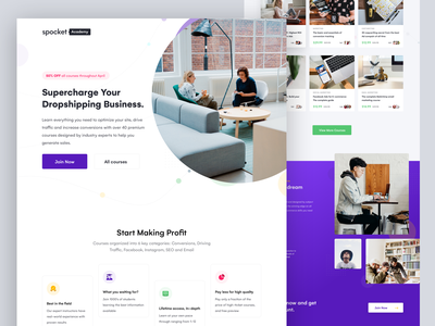 Landing Page purple ui call to action cta testimonial home homepage web present features supplier product design boost onboarding canada landing page course business iran