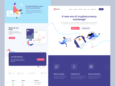 Landing Shot ui call to action cta testimonial home homepage web features design onboarding red indigo landing page business iran illustration digital bitcoin currency crypto