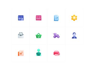 Icon Set - Colorful persian iran iconset icons vector design illustration