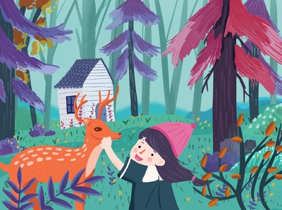 The girl with the deer ps ps手绘板