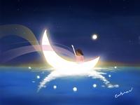 夜晚看月亮