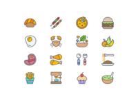 """Food Icon set for Restaurant Finder app """"Foodil"""""""