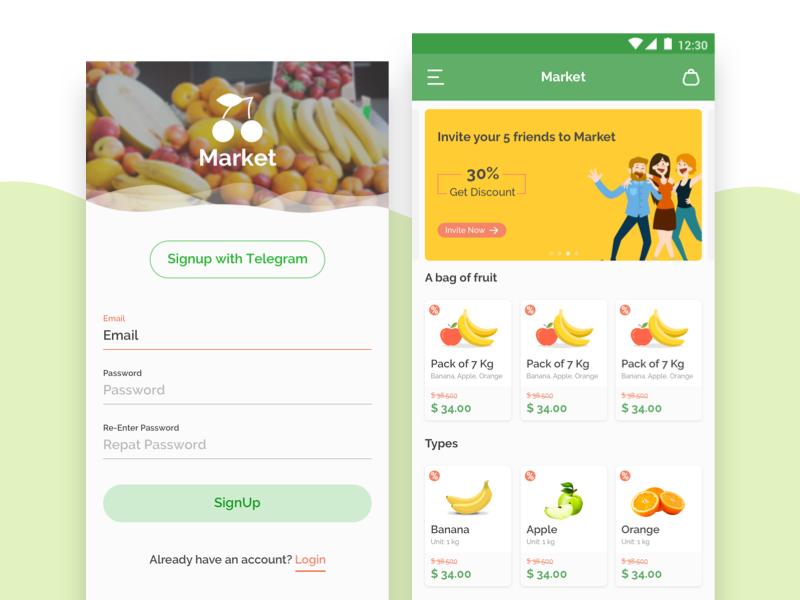 App Design for Fruit Store register clean form signup simple andriod app fruit store