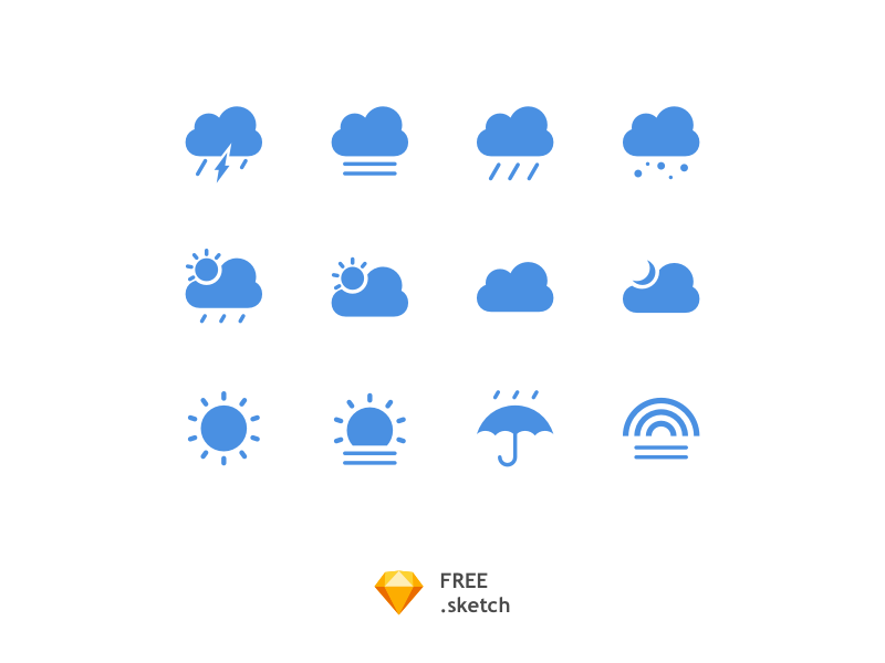 Simple Climate IconSet [Free Sketch] sunny cloud whether download vector sketch free icon set icons rainy climate clean