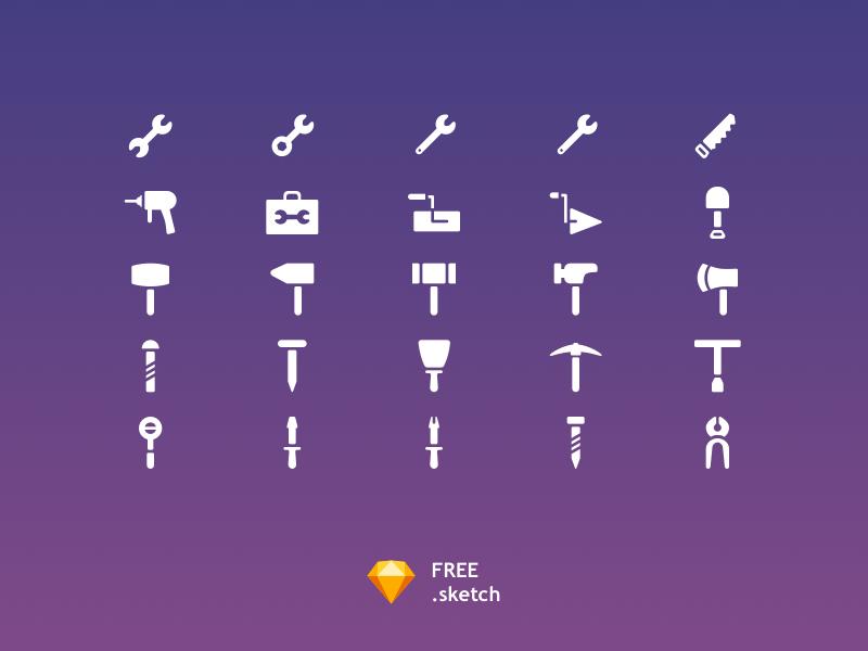 25 Tools Icon Set [Free Sketch] nail hammer wench solid icon filled sketch free icons set icon set icon tool