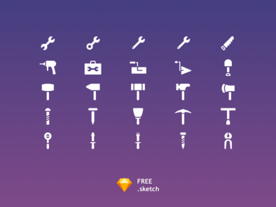 25 Tools Icon Set [Free Sketch]