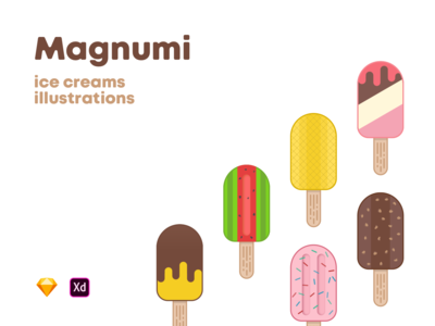Magnumi ice creams illustrations [Free]