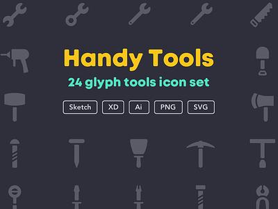 Handy tools icon set [Free] download freebies free icon set icon work tool hammer tools handy ui