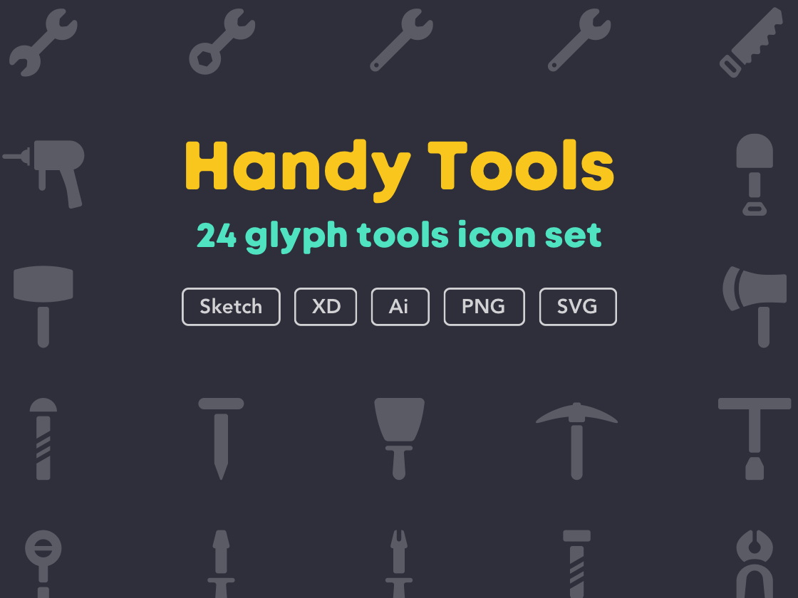 Handy tools icon set [Free] download freebies free icon set icon work tool hammer tools handy ui