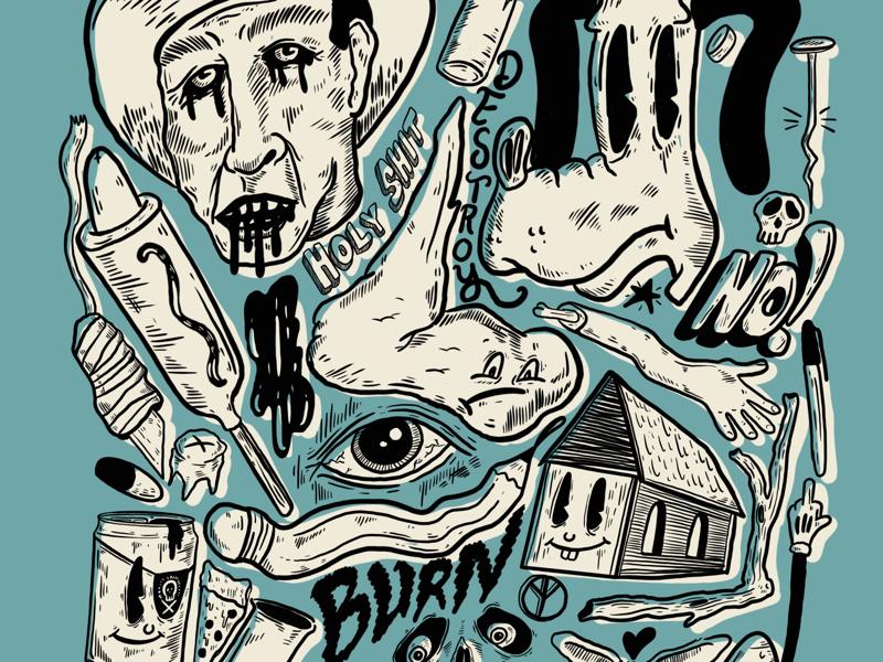 Sample illustrations text food handdrawn cartoons illustration