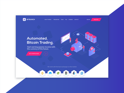 Bitbunch | Home illustration ui branding cssninja modern colorful bitcoin cryptocurrency landingpage design