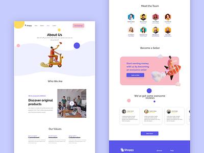 About page 3d landing page ecommerce illustration clean app ui design modern bulma